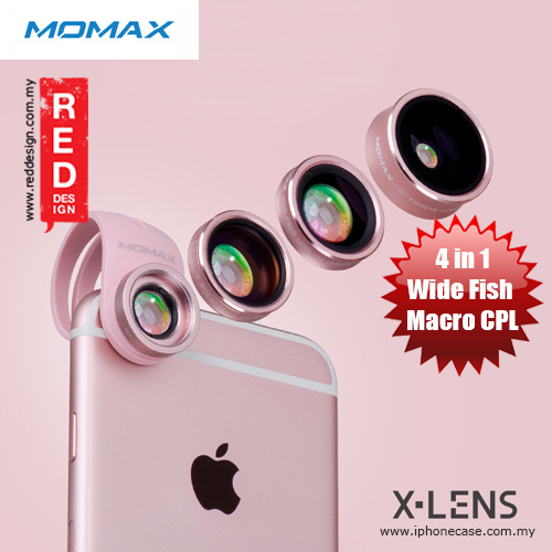 buy online b7743 241f0 Momax X-Lens Universal Clip 4 in 1 Superior Lens Wide Angle Macro CPL  Filter Fish Eye Smartphone Lens - Rose Gold