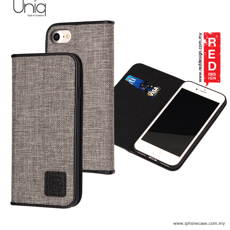 pretty nice 84a37 52791 Uniq Trilby Canvas Fabric Flip Cover Stand Case for Apple iPhone 7 iPhone 8  4.7 - Black